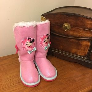 NEW! Disney Pink Minnie Mouse Boots Sz 12 Girl's